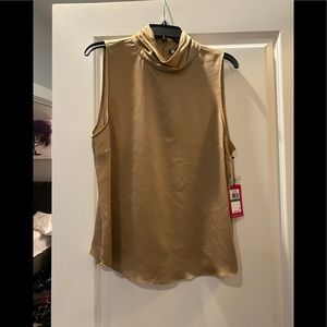 Vince Camuto Silky Gold Turtleneck Blouse Top